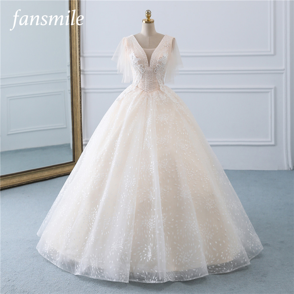 Fansmile Tulle Mariage Vintage Princess Ball Gown Wedding Dresses 2019 Quality Lace Plus size Wedding Bride