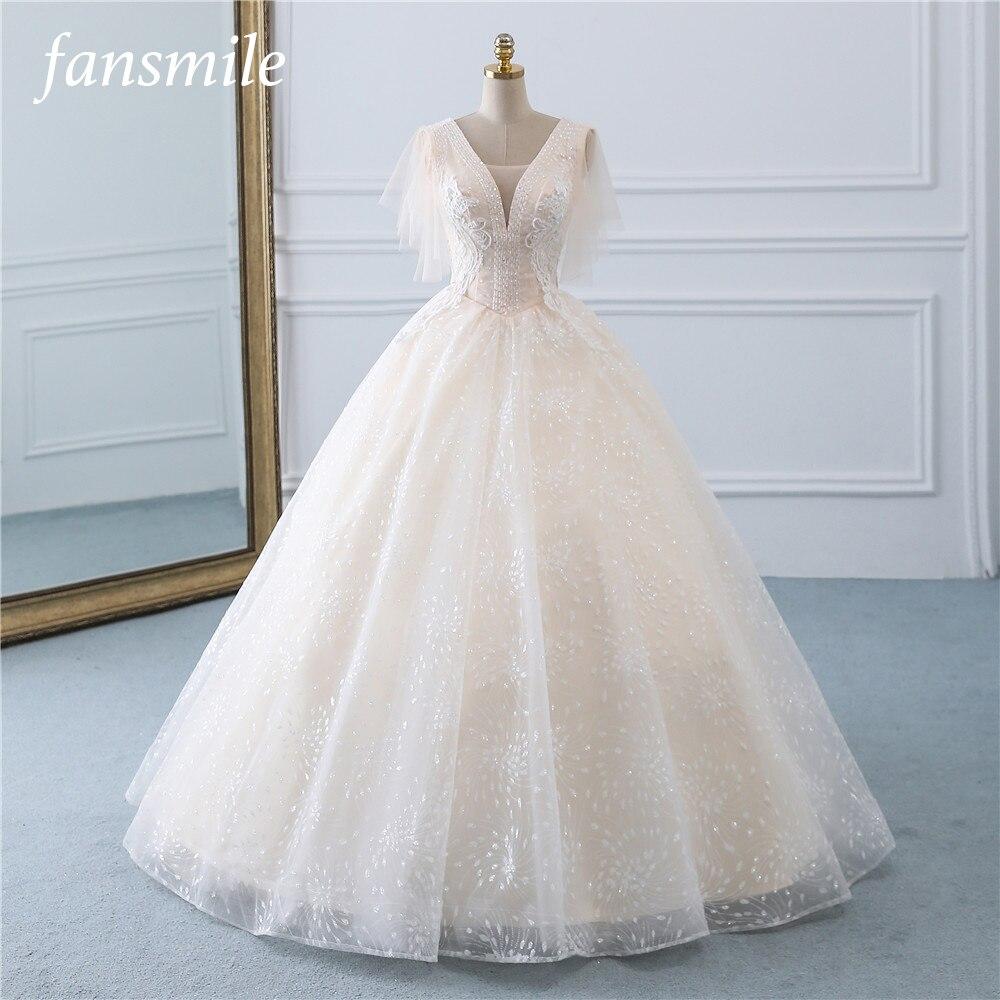 Fansmile Tulle Mariage Vintage Princess Ball Gown Wedding Dresses 2019 Quality Lace Plus Size Wedding Bride Dresses FSM-519F