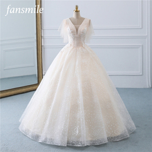 Fansmile Tulle Mariage Vintage Princess Ball Gown Wedding Dresses 2020 Quality Lace Plus size Wedding Bride Dresses FSM 519F