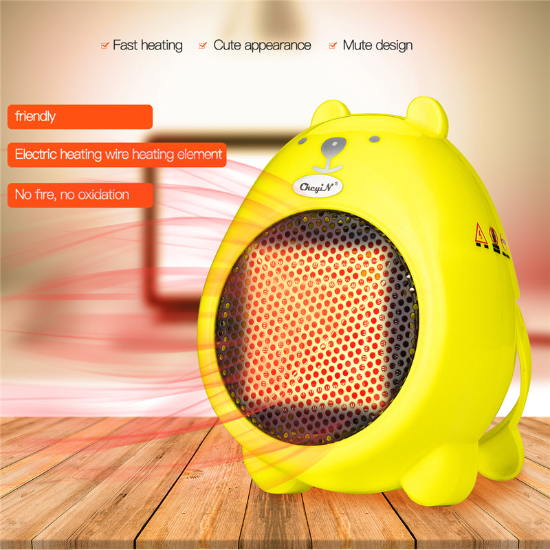 350W Cute Cartoon Bear Fan Heater Desk Handheld Mini Electric Heater Office Home Warmer Fan Air Heater Overheating Protection dmwd mini portable fan heater hand electric air warmer heating winter keep warm desk fan for office home 50w overheat protection