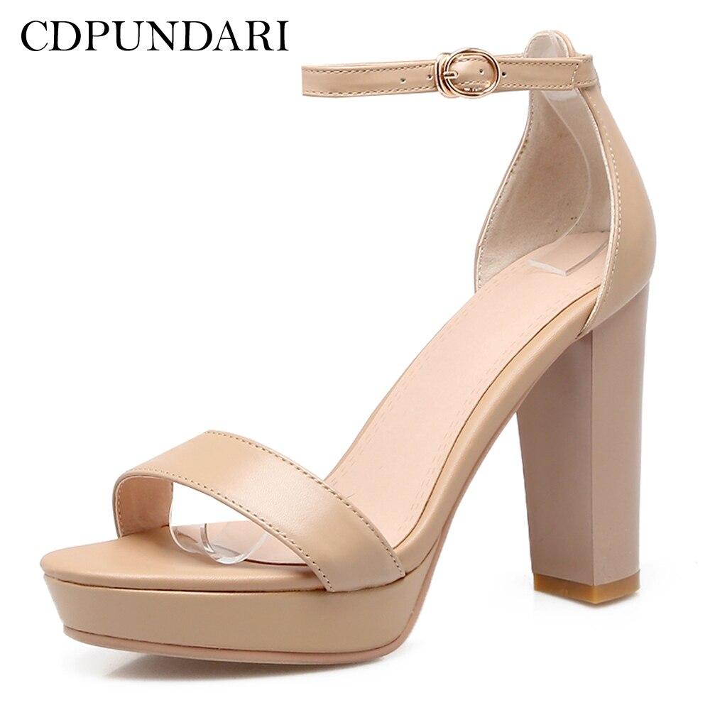 CDPUNDARI Ankle Strap Genuine Leather High heel Sandals Women platform Sandals summer shoes woman цена