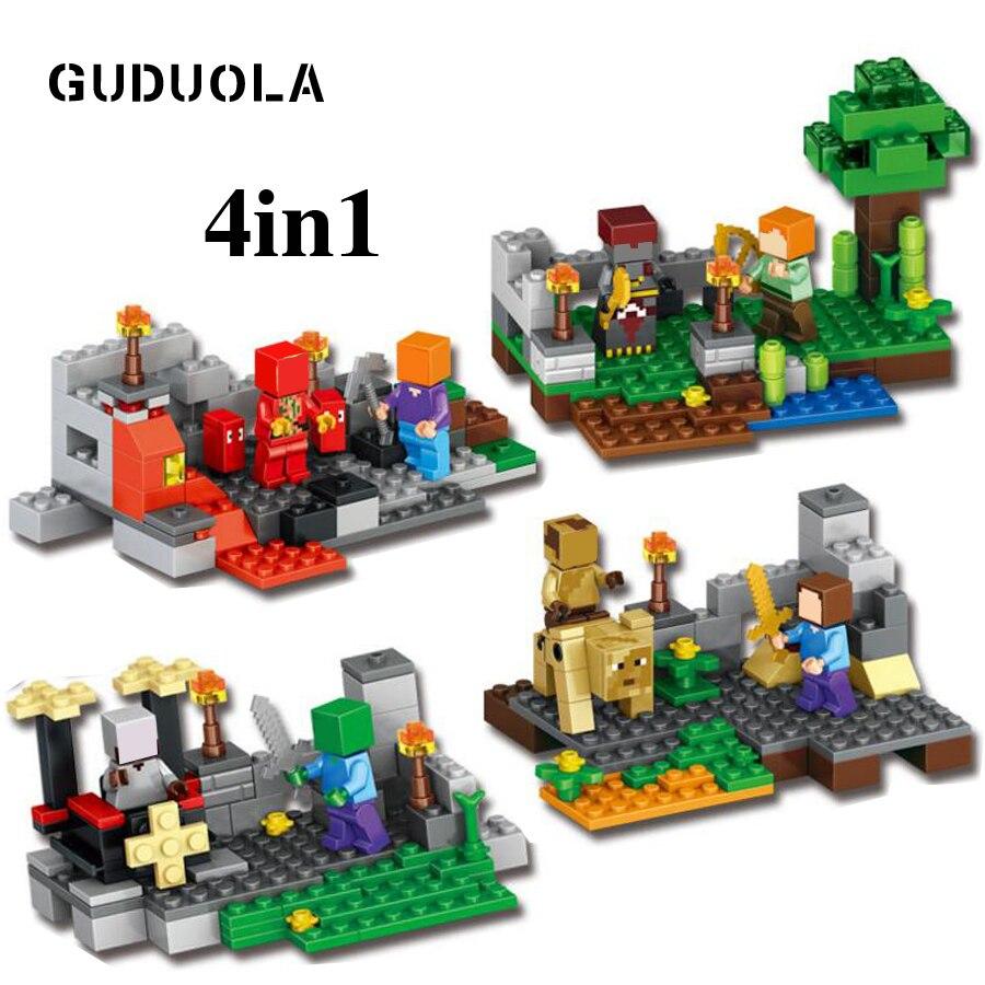 Blocks Logical Guduola Steve Zombie Skeleton Minecrafted Figure Building Blocks Figures Brick Toys Set Compatible Legoing Boy Gift 372pcs/set Model Building