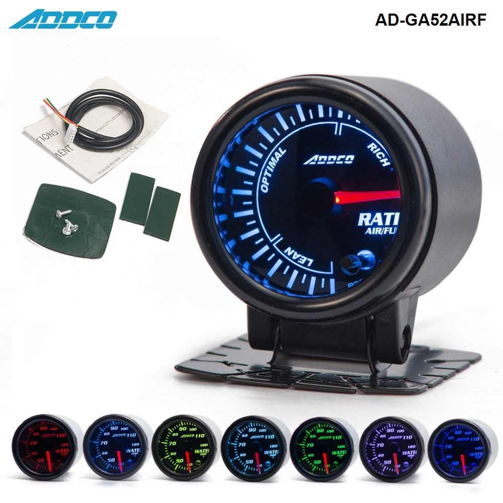 "2""/52mm 7 Color LED Car Auto Air Fuel Ratio Gauge Meter Pointer Universal Meter With Holder AD-GA52AIRF"