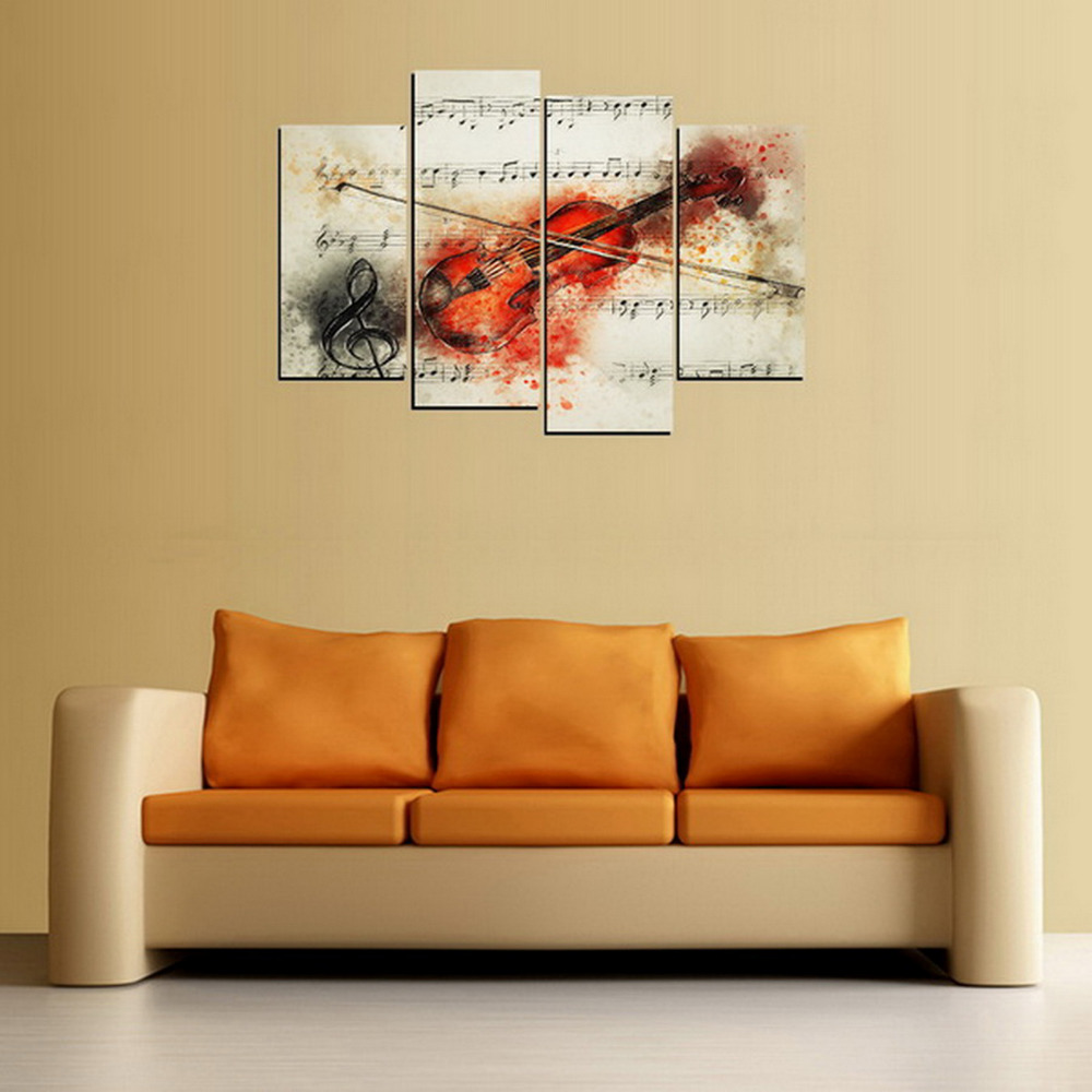 4 Panels Canvas Print Red Violin Painting On Canvas Wall Art Picture ...