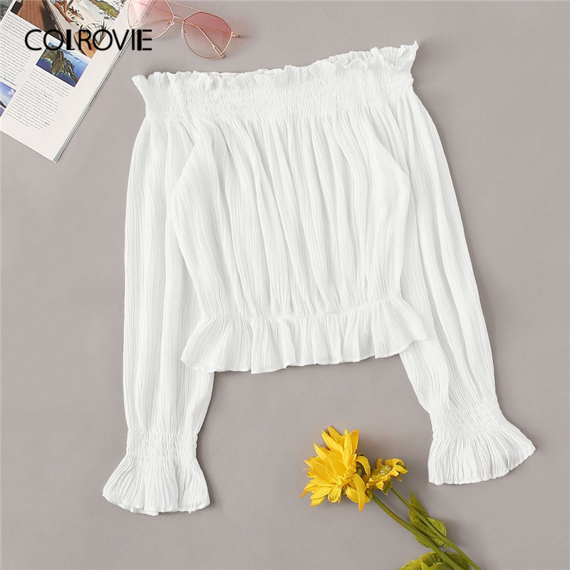 COLROVIE White Off The Shoulder Shirred Beach Style Women   Blouse     Shirt   2019 Summer Long Sleeve Ruffle Boho Korean Sexy Tops