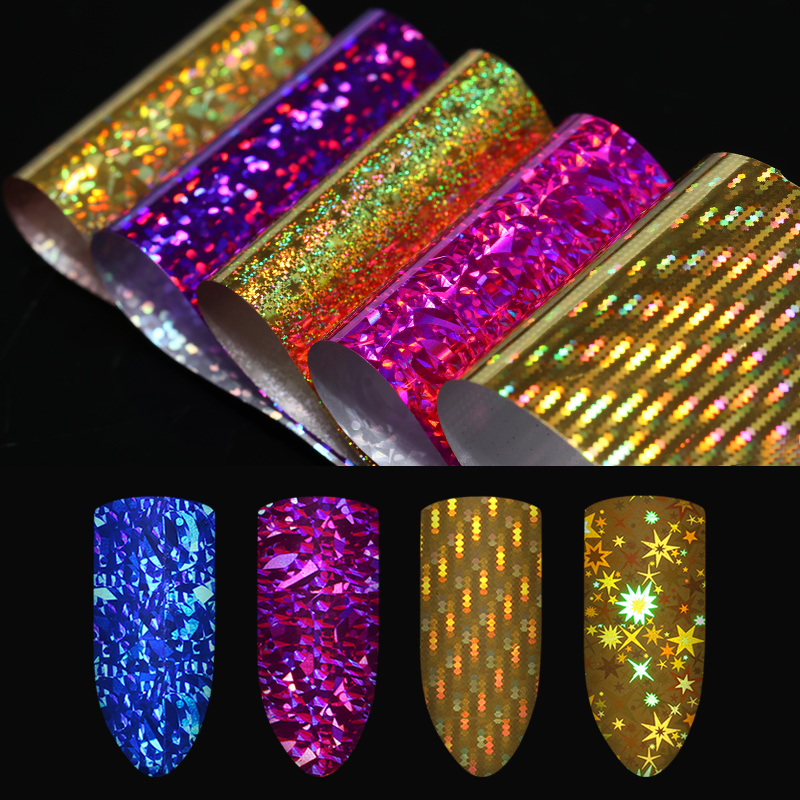 Starry Sky Nail Foils Pack of 10 Colors Shimmer Colorful Stickers 4*20cm Manicure Nail Art Decorations for DIY Accessories art of war