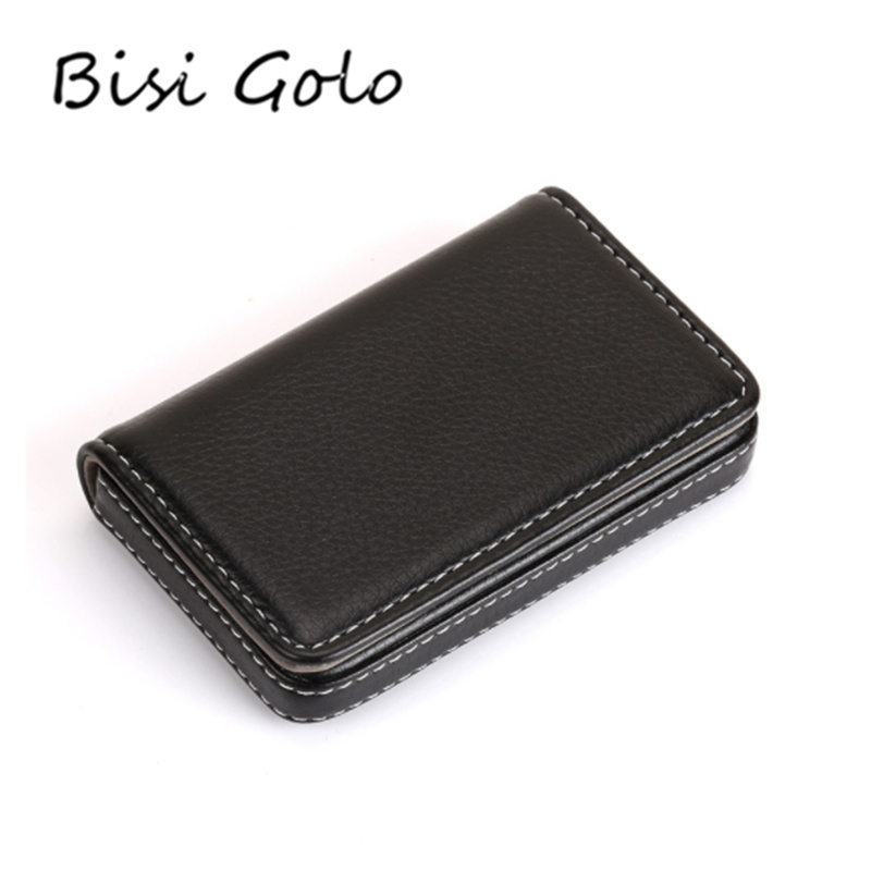 BISI GORO 2019 Business Credit Card Holder Magnet Name Card Holder Large Capacity Classic Card Box PU Leather Fashion Card Case wallet