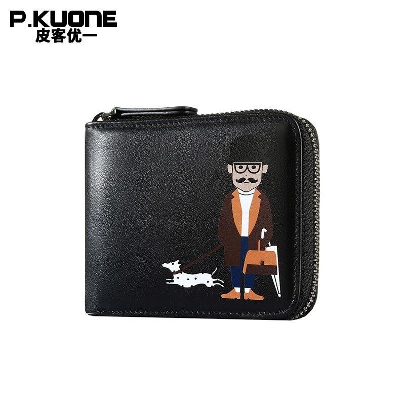 P. KUONE en cuir véritable affaires hommes porte-carte de crédit portefeuille magique marque de luxe femmes petit sac à main fermeture à glissière sac de monnaie nouveau Designer
