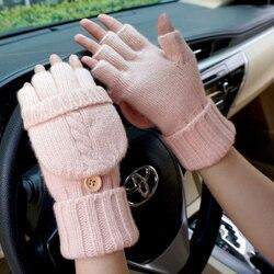 Fashion Women Fingerless Gloves Female Wool Winter Outdoor Driving Mitten Knitted Thick Warm Flip Half Finger Gloves for Workout
