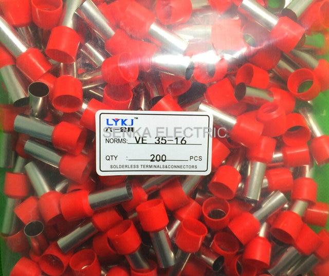 E35 16 terminator kablo 2AWG 35mm2 bootlace Ferüle tel terminali kablo konektörü