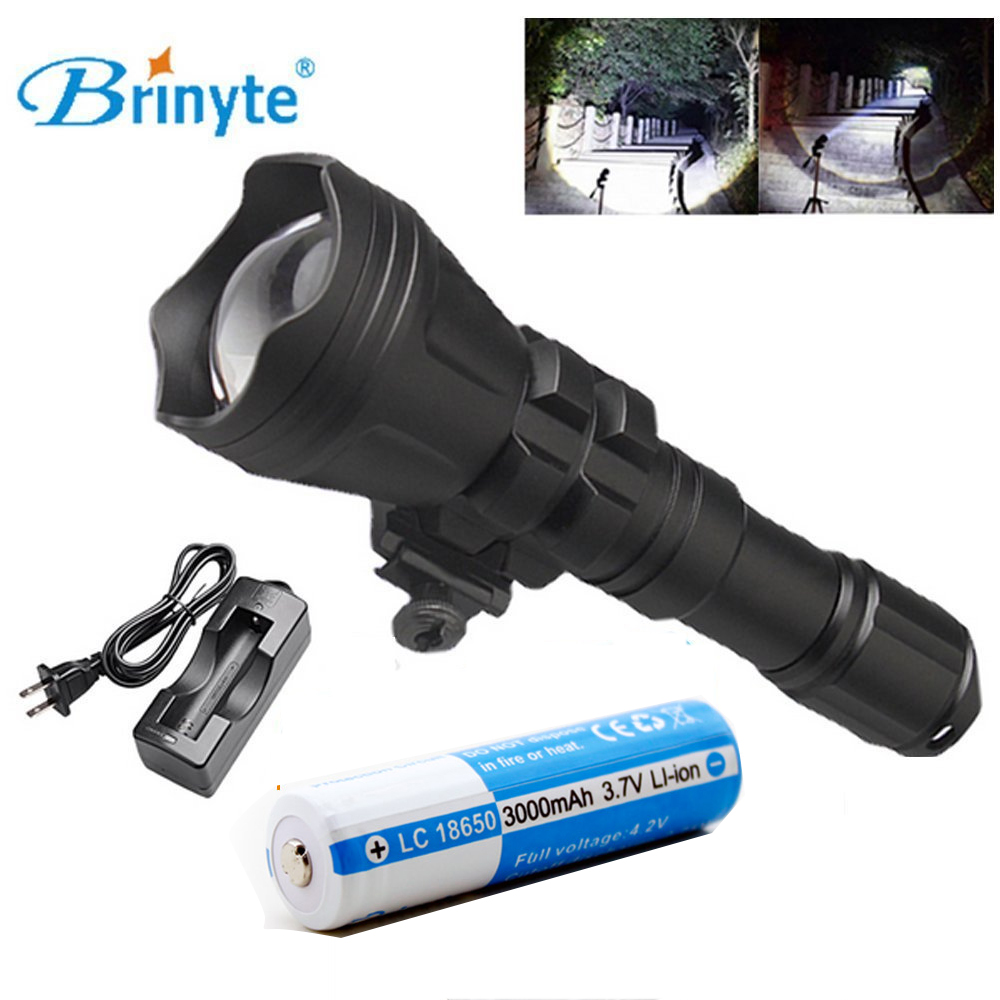 Brinyte B158 Convex Lens Zoomable LED Flashlight Torch Outdoor Tactical Hunting FlashLight + 3000mAH 18650 battery + battery powerful handlight outdoor tactical flashlight 1300lm tactical led flashlight torch outdoor waterproof aluminum alloy