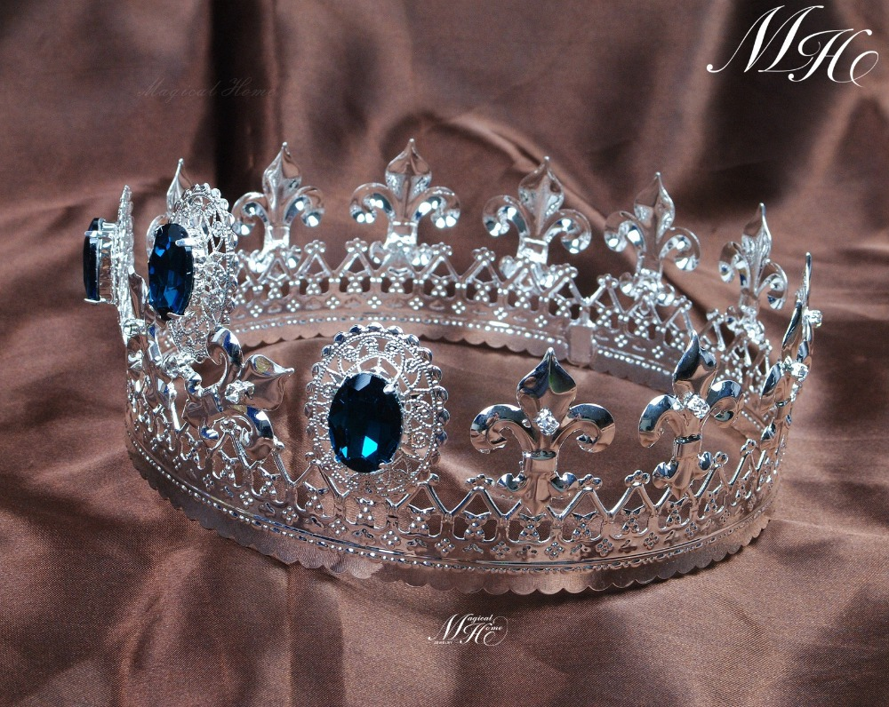Crowns full circle round tiaras rhinestones crystal wedding bridal - Noble Simulated Blue Sapphire Crown Full Circle Tiara Austrian Rhinestone Pageant Bridal Wedding Party Costumes Decoration In Hair Jewelry From Jewelry