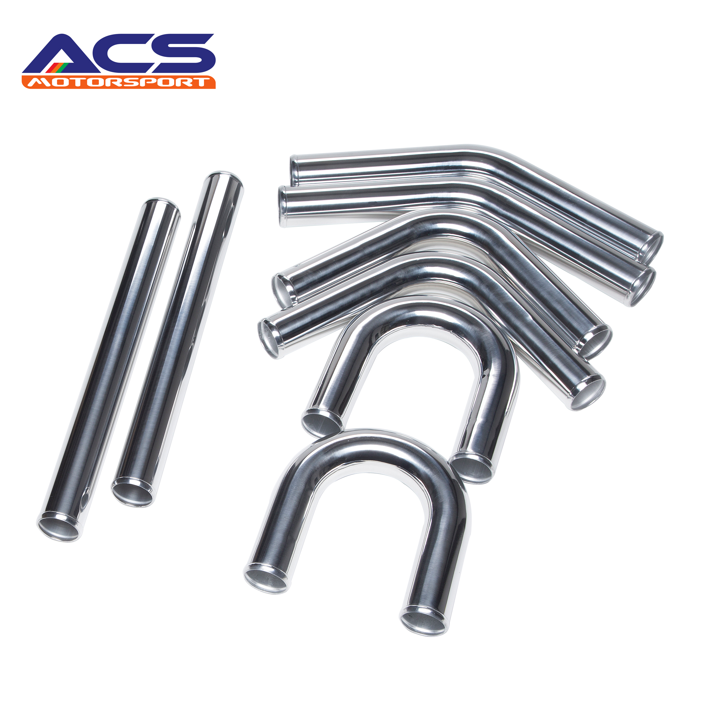Universal Polished 2.5'' Aluminum FMIC Intercooler Piping Kit DIY Piping 600mm Length