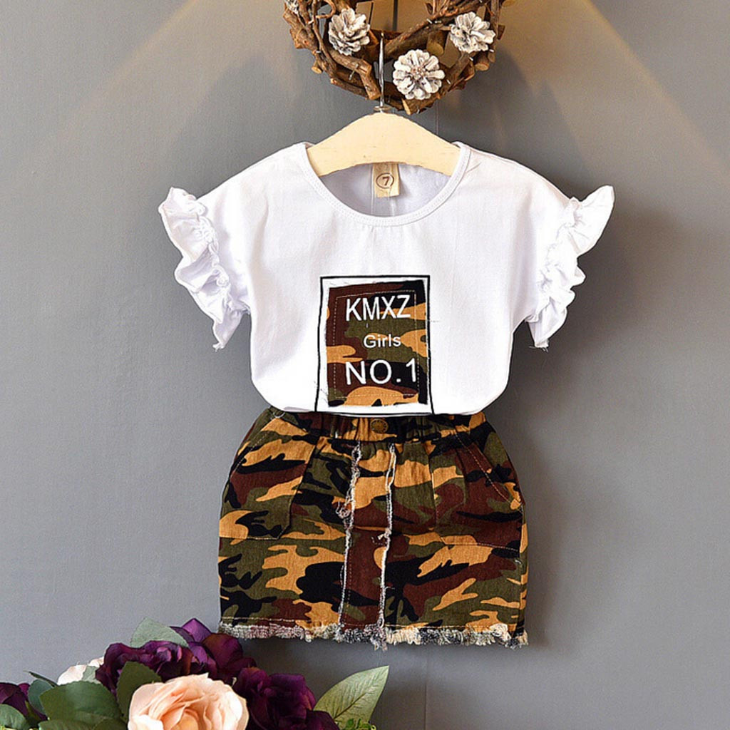 Toddler Kids Baby Girls Outfits Clothes T-shirt Tops+Camouflage Skirt 2PCS Set Girls Summer Clothes Roupa Menina Kids Clothing