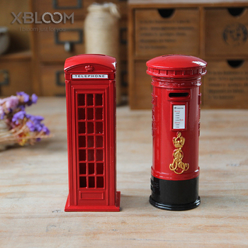 Creative Red London Telephone Booth Mailbox Metal Piggy Money Box Coin Bank Souvenir Model Box Great Gift for Kid Home Decor MB2 image