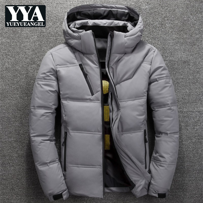 Hot Sale New Man   Down   Jacket Winter Thick Warm Mens White Duck   Down     Coat   Fashion Mens Hooded Overcoat Casual Outerwear Men Trend