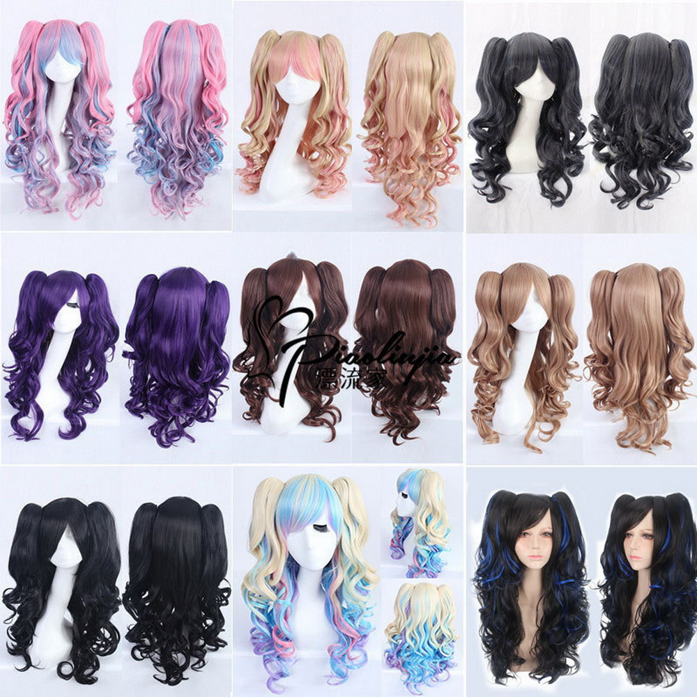Fashion <font><b>Sexy</b></font> Halloween <font><b>Lolita</b></font> Long Curly <font><b>Cosplay</b></font> Wig With Double Claw Ponytails Halloween Costume Party Wigs For Women image