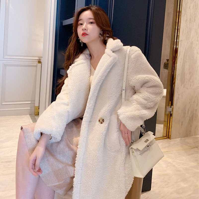 white brown Faux Fur Teddy Coat 2019 New Winter lapel Loose Overcoat Lamb Fur Long Coat Fashion Korean Casual Plush Coat S M