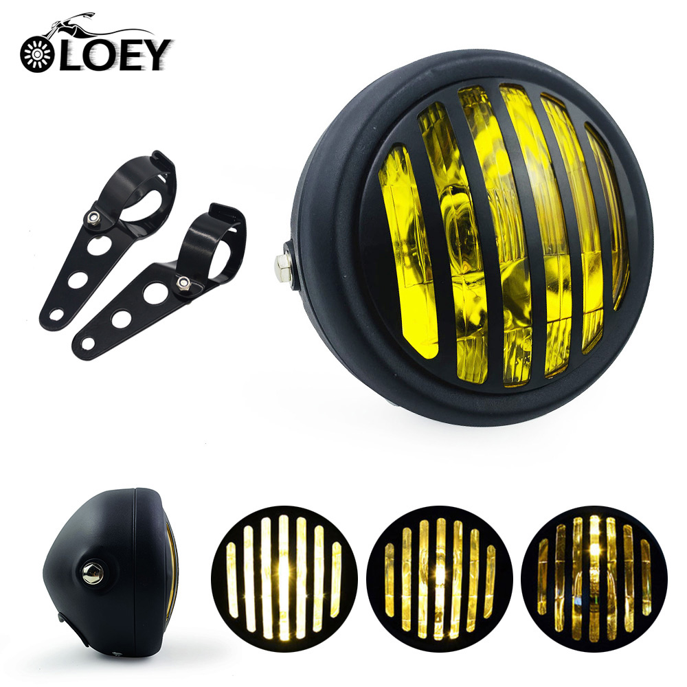 12V LED Motorcycle Refit Headlight With Brackets Round Spotlight Head Light For Chopper/Bobber/Cafe Racer/Touring Bikes