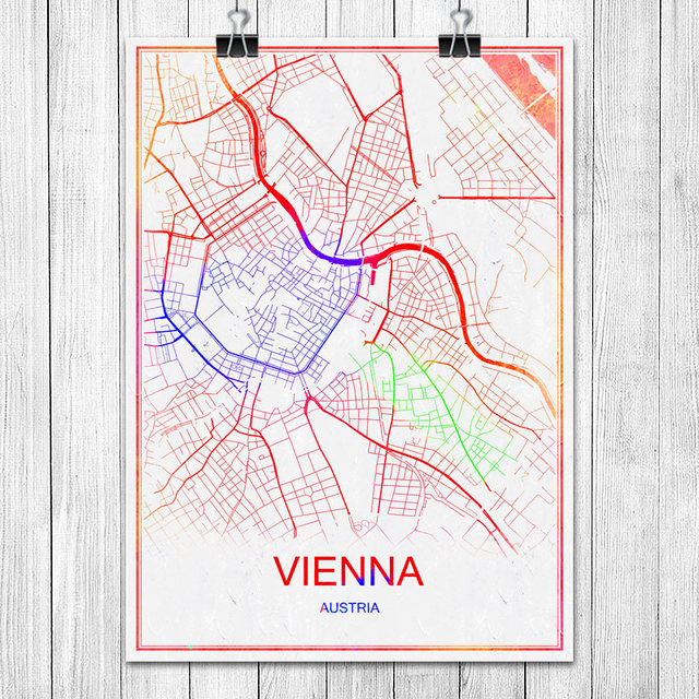 Vienna austria colorful famous world city map print poster abstract vienna austria colorful famous world city map print poster abstract coated paper bar cafe living room gumiabroncs Choice Image