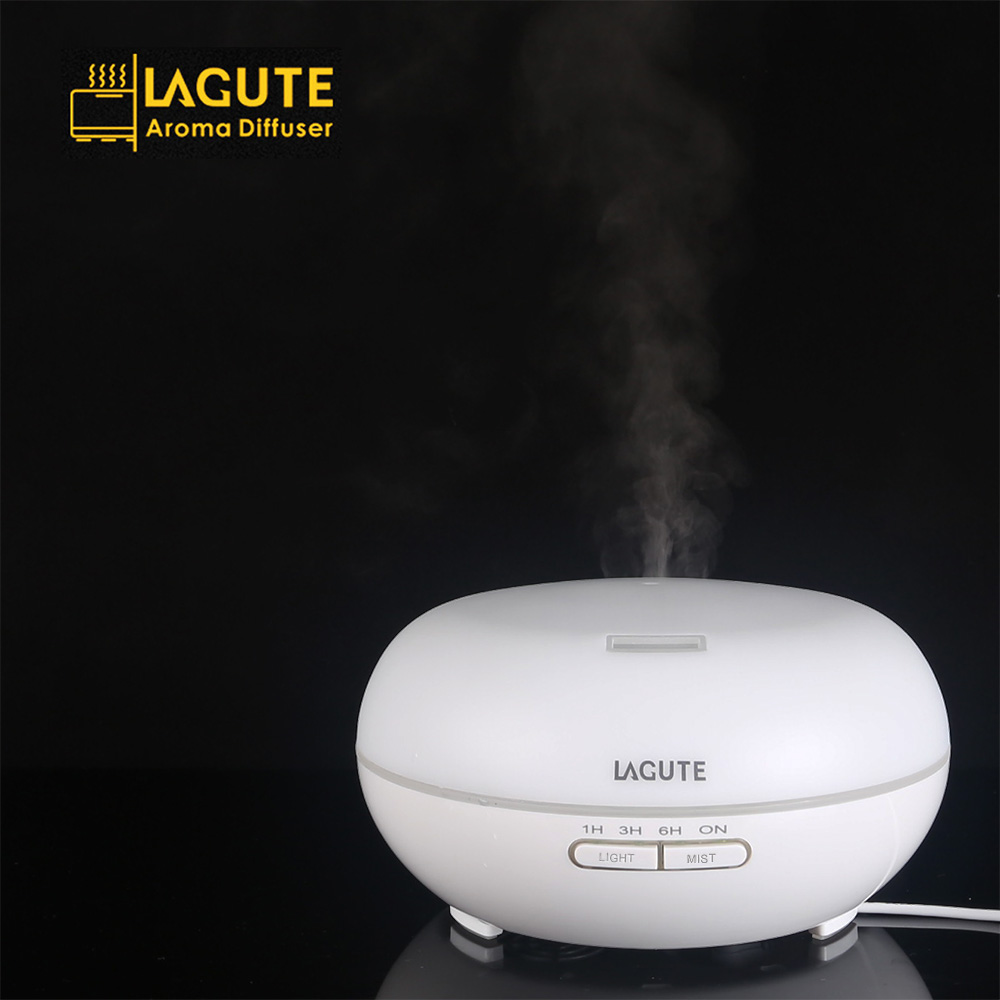 LAGUTE 200ml Aroma Essential Oil Diffuser Ultrasonic Cool Mist Humidifier Auto Shut off 7 Color Lights for Home Baby Room Yoga