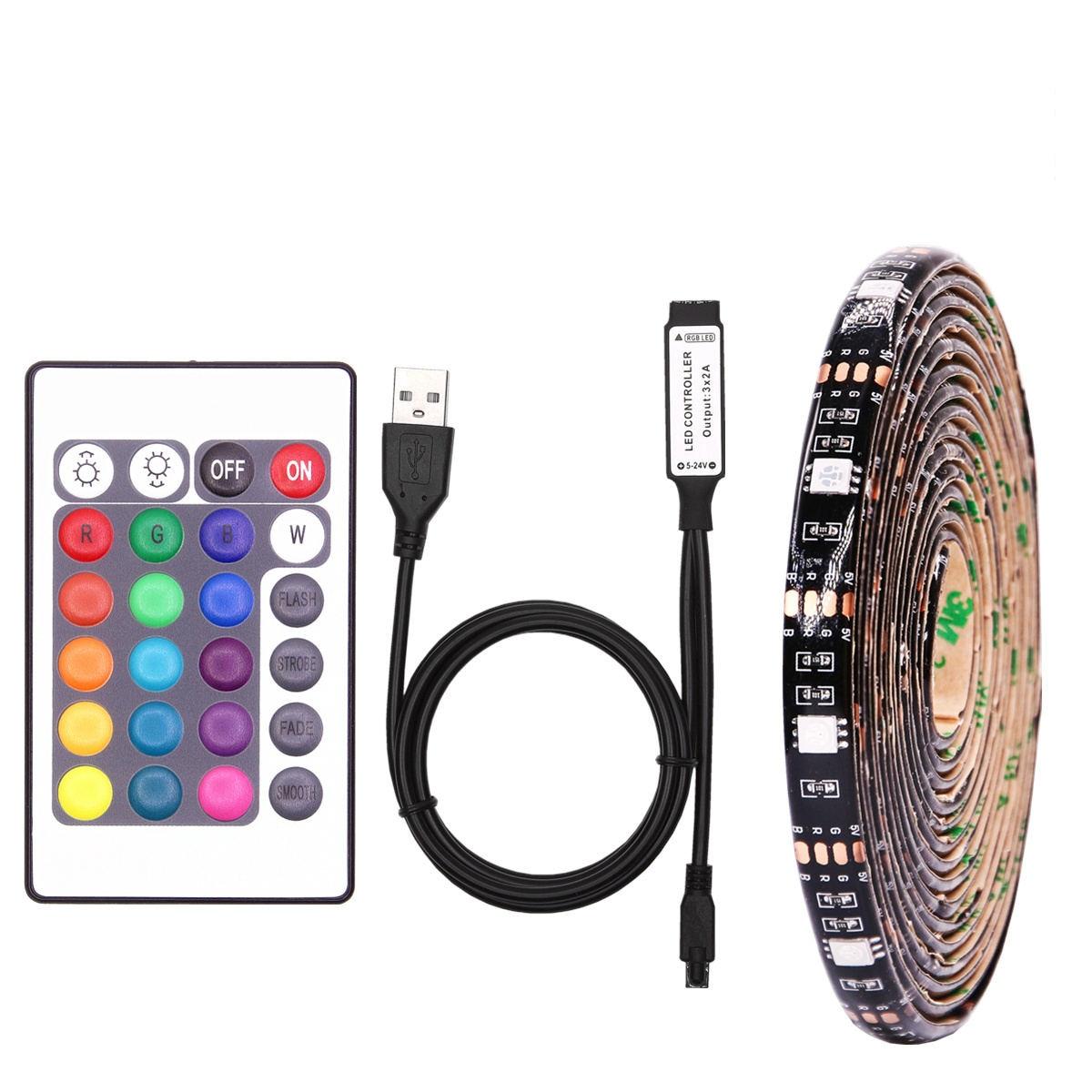 RGB LED Strip Waterproof SMD 5050 DC 5V USB LED neon Light Strip Flexible Bias Lighting Backlight with Remote For TV Background