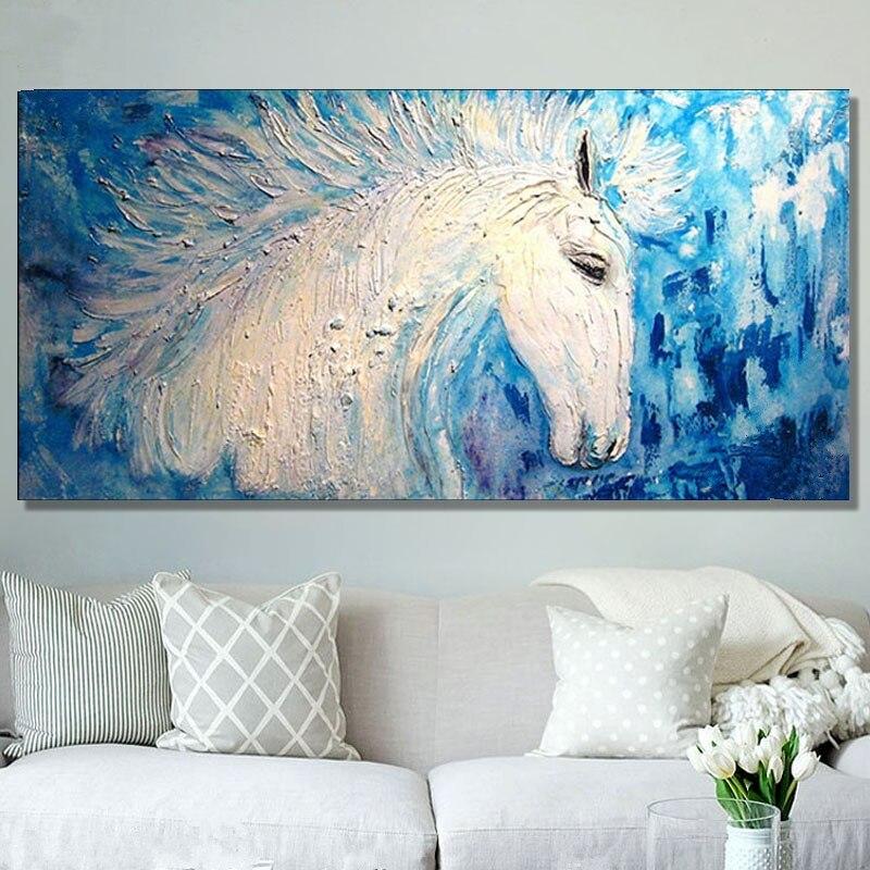 Акриловые животных Картины Палитры Ножи стены Книги по искусству изображение Домашний декор Ручная роспись Белая лошадь картина маслом на