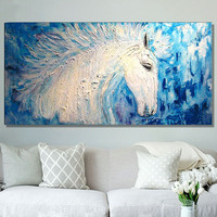 Acrylic Animal Paintings Palette Knife Wall Art Picture Home Decor Hand Painted Abstract White Horse Oil Painting on Canvas Blue