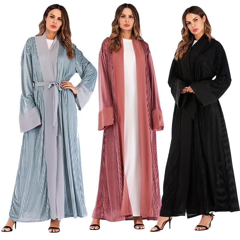 Winter Abaya Kaftan Dubai Arabic Islam Kimono Cardigan Velvet Muslim Hijab Dress Abayas For Women Robe Turkish Islamic Clothing