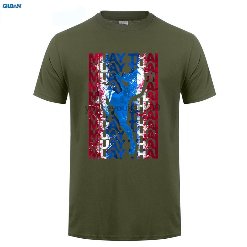 GILDAN T Shirt Men Muay Thai Boxinger Flag Fighter Thailand Martial Art Mens Round Colla ...
