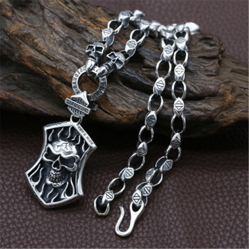 7mm 925 sterling silver jewelry men and women fashion personality popular necklace pendant vintage Thai silver plaque