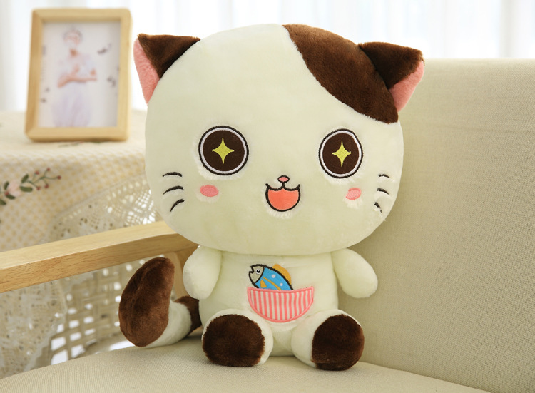 cute cartoon cat plush toy large 60cm white stars design eyes cat soft doll throw pillow Christmas gift s2374