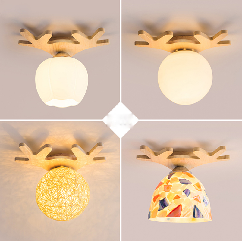 ZYY Nordic living room aisle lights cloakroom balcony childrens room creative solid wood lamps antlers warm ceiling lamp