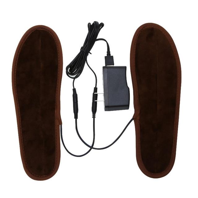 Linha de dados + palmilhas Homens Mulheres New Electric USB Alimentado Plush Fur Inverno Manter Aquecido Palmilha Palmilhas De Aquecimento palmilha Aquecida unisex