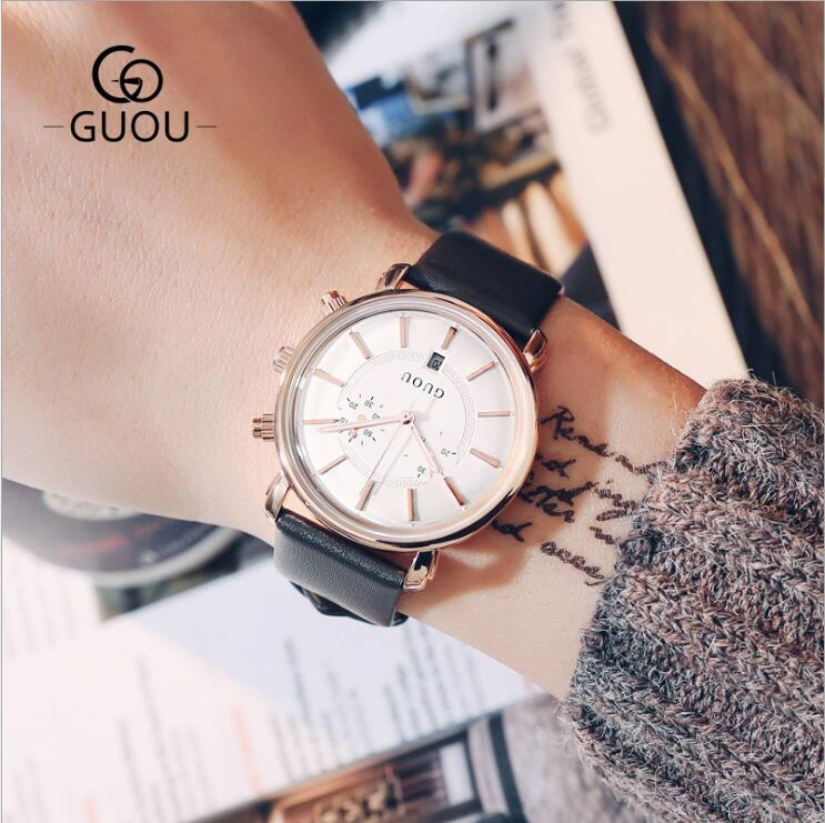 купить GUOU Watch Men Watch Top Brand Luxury Men's Watch Auto Date Sport Mens Watches Clock kol saati relogio masculino reloj hombre по цене 2499.64 рублей