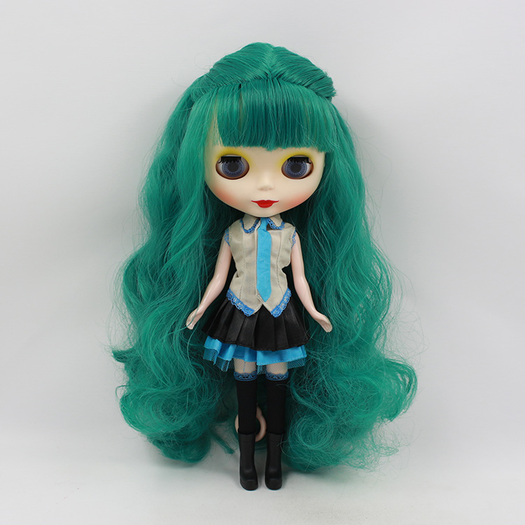 ФОТО Mini fashion nude Blyth doll B female Limited Collection cloth dolls  green long hair with bangs for DIY face bjd dolls for sale