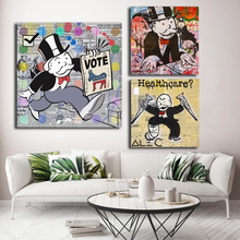 Monopolyingly Street Art Graffiti Canvas Painting Healthcare Votes Posters Prints Wall Picture for Living Room Home Decor