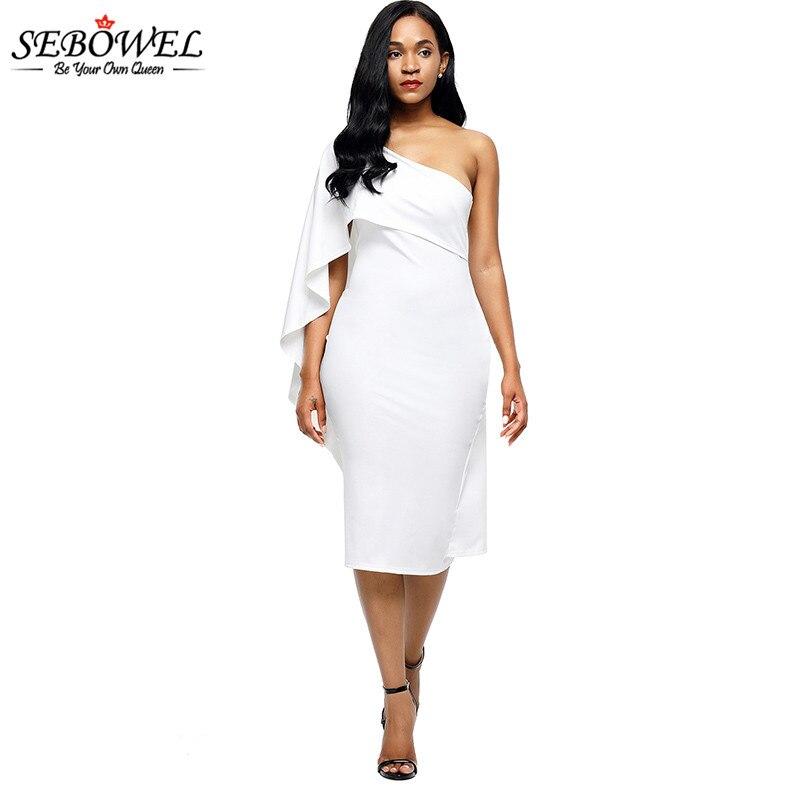 SEBOWEL Sexy Summer One Shoulder Dress Women s Batwing Sleeve Party Dress  Ladies Elegant Flounce Midi Dresses Short Vestidos XL 2e80e635c261