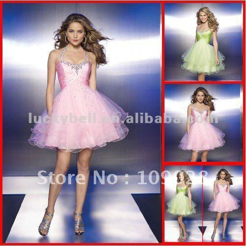 Free shipping Distributor Sexy Mini Halter Pink Prom Dress