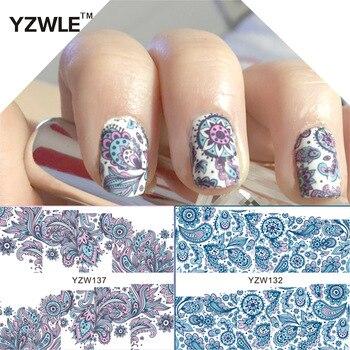 YZWLE 2 Patterns/Set Blooming Flower Blue Flower vine Nail Art Water Decals Transfer Sticker # YZW132&137