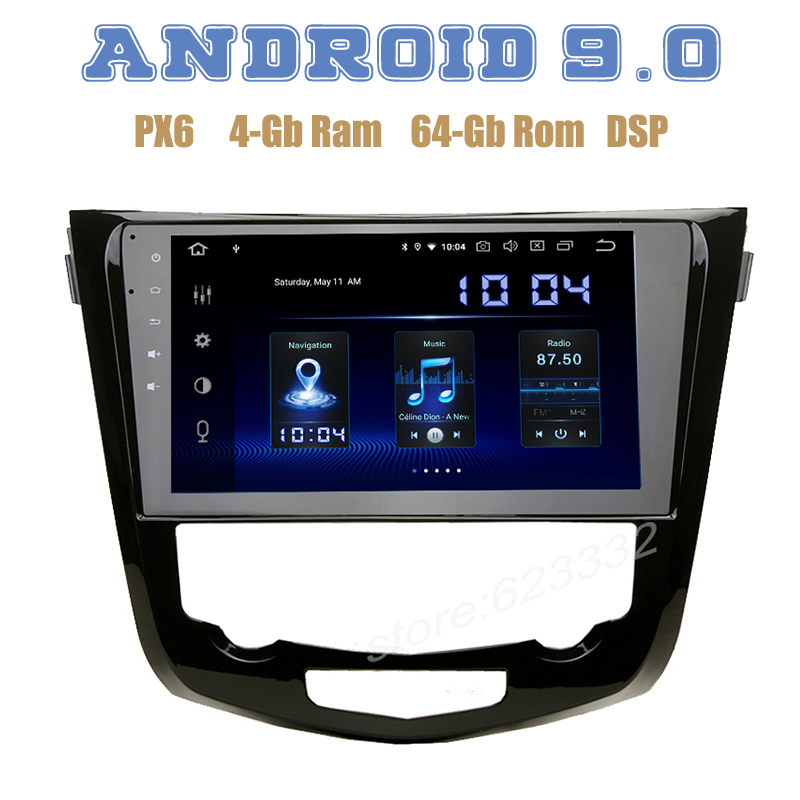 10.2 IPS for nissan X trail Qashqai Rogue 2014 2018 PX6 Android 9.0 Car GPS Radio Player DSP 4+64GB auto Multimedia Headunit