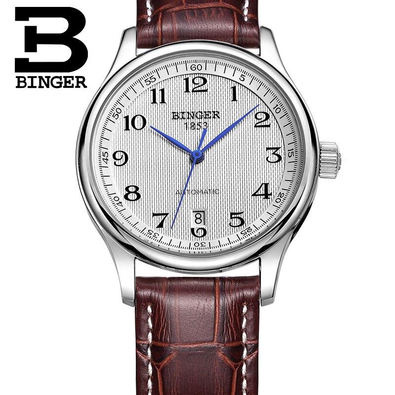 Аутентичные роскошные фирменные мужские автоматические механические часы с сапфировым покрытием, водонепроницаемые часы с кожаным ремешк...