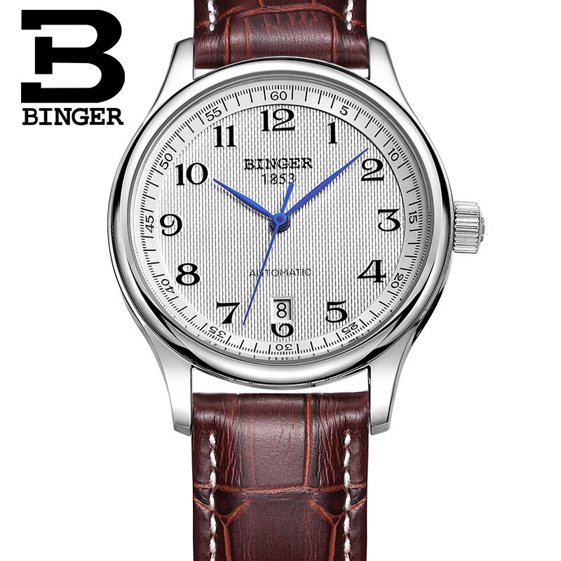 Authentic Luxury BINGER Brand Men automatic mechanical self-wind sapphire watch waterproof leather strap business table deluxe ailuo men auto self wind mechanical analog pointer 5atm waterproof rhinestone business watch sapphire crystal wristwatch