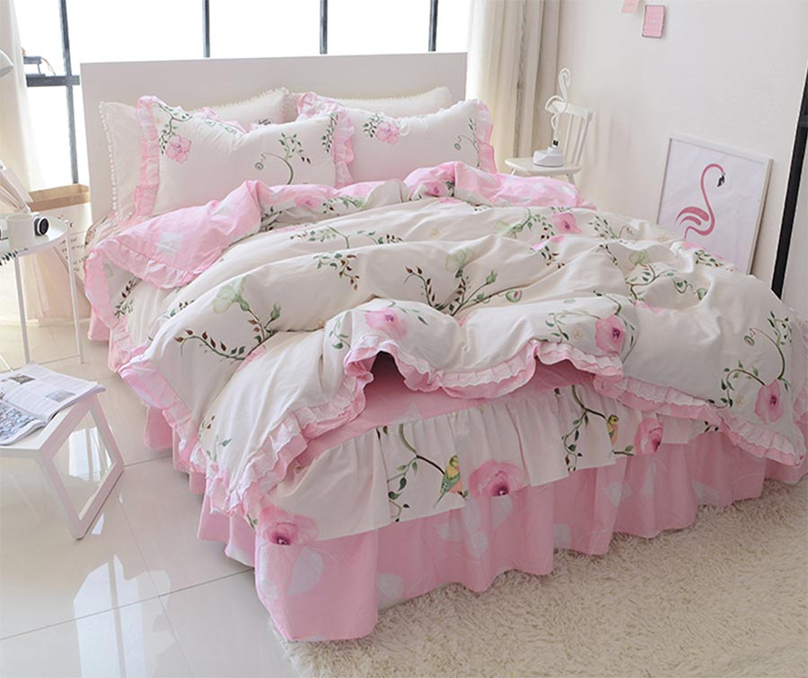 Sweet cute flower single double cotton bedding set teen girl,twin full queen king home textile bed skirt duvet cover pillow case