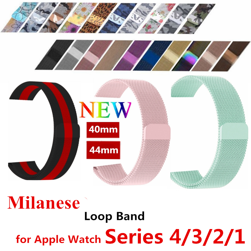 лучшая цена Milanese loop band for apple watch 44mm 40mm Stainless Steel metal strap Bracelet watchband for iwatch series 4/3/2 Accessories