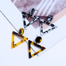 HOCOLE Leopard Earrings Acetate Personality Atmosphere Exaggerated Edition GeometricTriangle Brown Acrylic