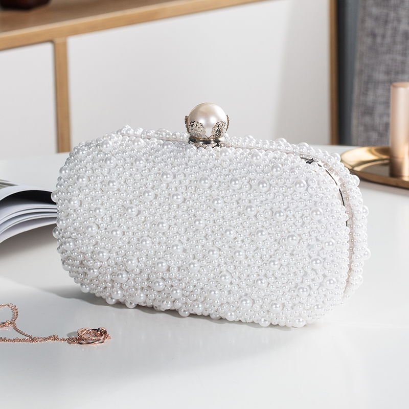 Clutch-Bag Beaded-Handbag Wedding-Purse Pearl White Oval-Shaped Party Evening High-Quality
