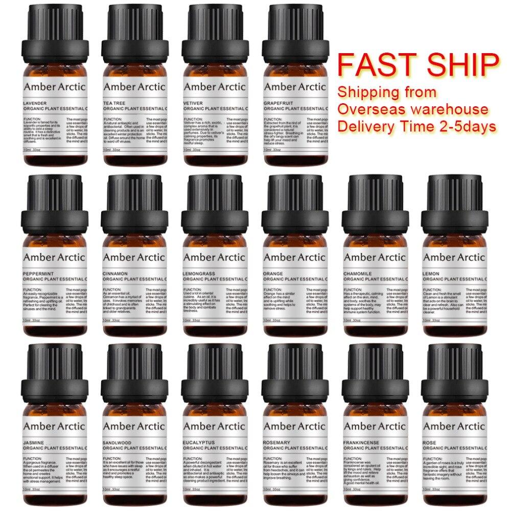 Huile essentielle de lavande naturelle huile de parfum végétale Pure menthe poivrée arbre à thé huile de Massage jasmin huile de parfum soluble dans l'eau 10ML