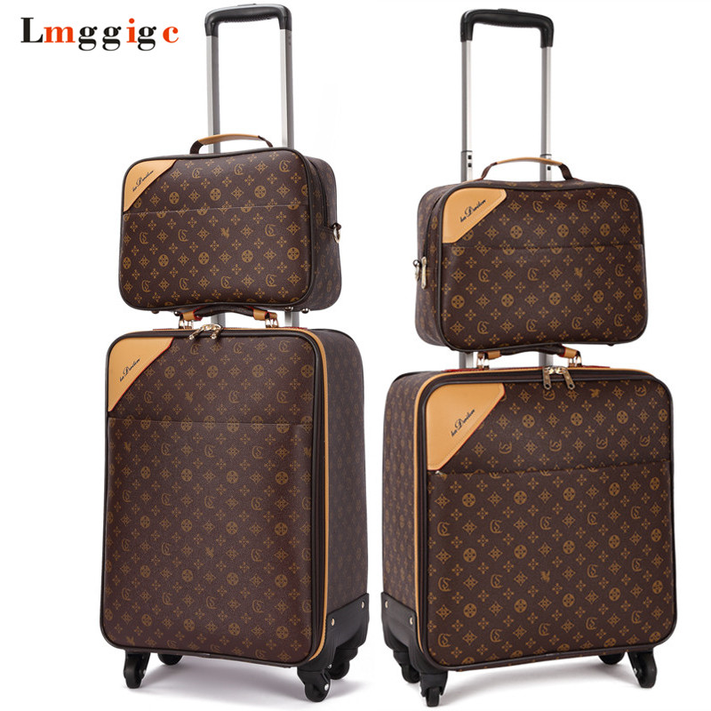 Classic Travel Suitcase set ,Brand Rolling Luggage Bag,Waterproof PVC business Trolley case,16202224 Spinner wheel Carry on new women gladiator sandals ladies pumps high heels shoes woman clear transparent t strap party wedding dress thick crystal heel