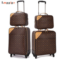 Classic Travel Suitcase set ,Brand Rolling Luggage Bag,Waterproof PVC business Trolley case,16202224 Spinner wheel Carry on